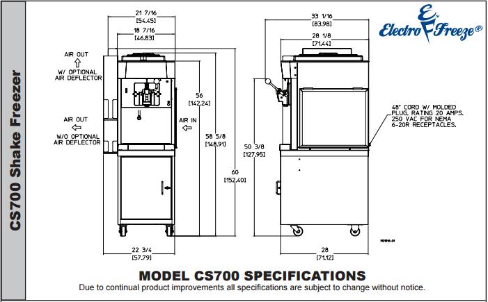 CS700 Milkshake Machine by Electro Freeze
